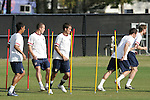 12 March 2008: United States players weave between poles in training. The United States U-23 Men's National Team practiced at the Tampa Bay Buccaneers training facility in Tampa, FL on an off day in the 2008 CONCACAF Men's Olympic Qualifying Tournament.