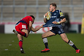 24th March 2018, AJ Bell Stadium, Salford, England; Aviva Premiership rugby, Sale Sharks versus Worcester Warriors; Dean Hammond of Worcester Warriors pulls the shirt of Will Addison of Sale Sharks