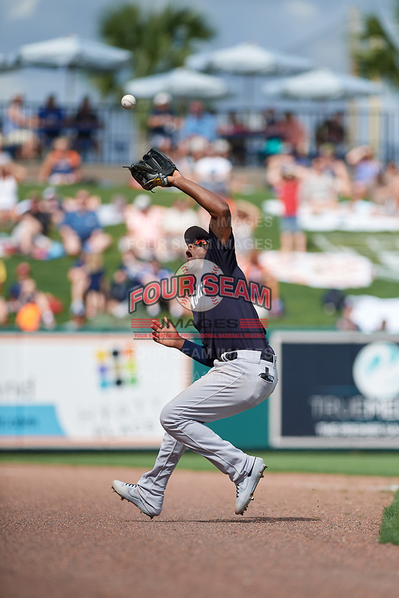New York Yankees third baseman Miguel Andujar (41) catches a pop up foul ball during a Grapefruit League Spring Training game against the Detroit Tigers on February 27, 2019 at Publix Field at Joker Marchant Stadium in Lakeland, Florida.  Yankees defeated the Tigers 10-4 as the game was called after the sixth inning due to rain.  (Mike Janes/Four Seam Images)