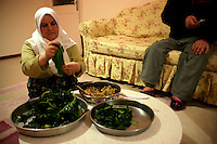 Turkish woman preparing stuffed cabbage leaves (lahana sarma) at home in an apartment in Istanbul, Turkey