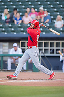 Springfield Cardinals outfielder Dylan Carlson (8) connects on a pitch on May 16, 2019, at Arvest Ballpark in Springdale, Arkansas. (Jason Ivester/Four Seam Images)