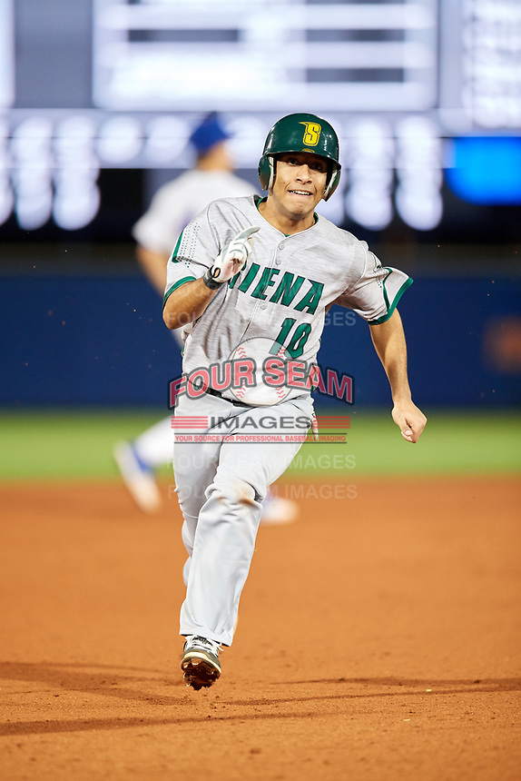 Siena Saints third baseman Yasser Santana (10) running the bases during a game against the Florida Gators on February 16, 2018 at Alfred A. McKethan Stadium in Gainesville, Florida.  Florida defeated Siena 7-1.  (Mike Janes/Four Seam Images)