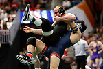 CLEVELAND, OH - MARCH 16: Isaiah Martinez, of Illinois, wrestles Alex Marinelli, of Iowa, in the 165 weight class during the Division I Men's Wrestling Championship held at Quicken Loans Arena on March 16, 2018 in Cleveland, Ohio. (Photo by Jay LaPrete/NCAA Photos via Getty Images)