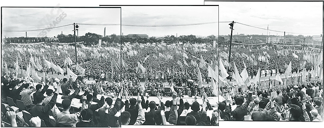 """Thousands attend a """"Learning and Applying Mao Zedong Thought"""" rally in Red Guard Square. Harbin 13 September 1966."""