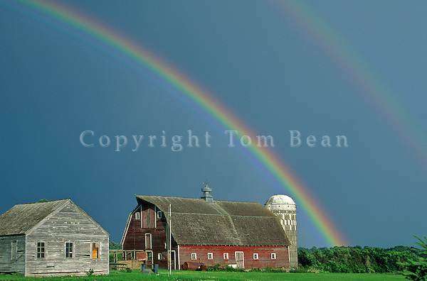 Rainbow over red barn in Blue Earth County near Medelia, Minnesota, AGPix_0317.