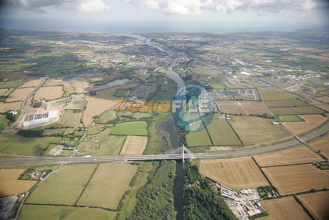 Aerial photo looking East over the Drogheda Bypass (M1) Bridge showing Drogheda and surrounding areas and following the Boyne out to the sea. 02/09/05...Photo NEWSFILE/Fran Caffrey.(Photo credit should read Fran Caffrey/NEWSFILE)....This Picture has been sent you under the condtions enclosed by:.Newsfile Ltd..The Studio,.Millmount Abbey,.Drogheda,.Co Meath..Ireland..Tel: +353(0)41-9871240.Fax: +353(0)41-9871260.GSM: +353(0)86-2500958.email: pictures@newsfile.ie.www.newsfile.ie.FTP: 193.120.102.198...This picture is from Fran Caffrey@newsfile.ie