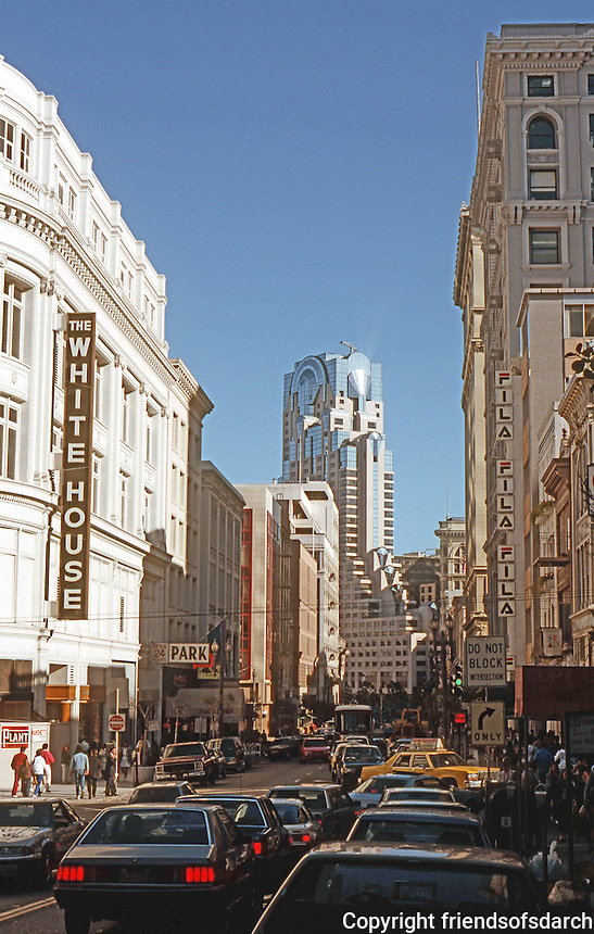 """San Francisco: Looking south on Grant to """"that thing""""--the new Marriott.  Photo '89."""