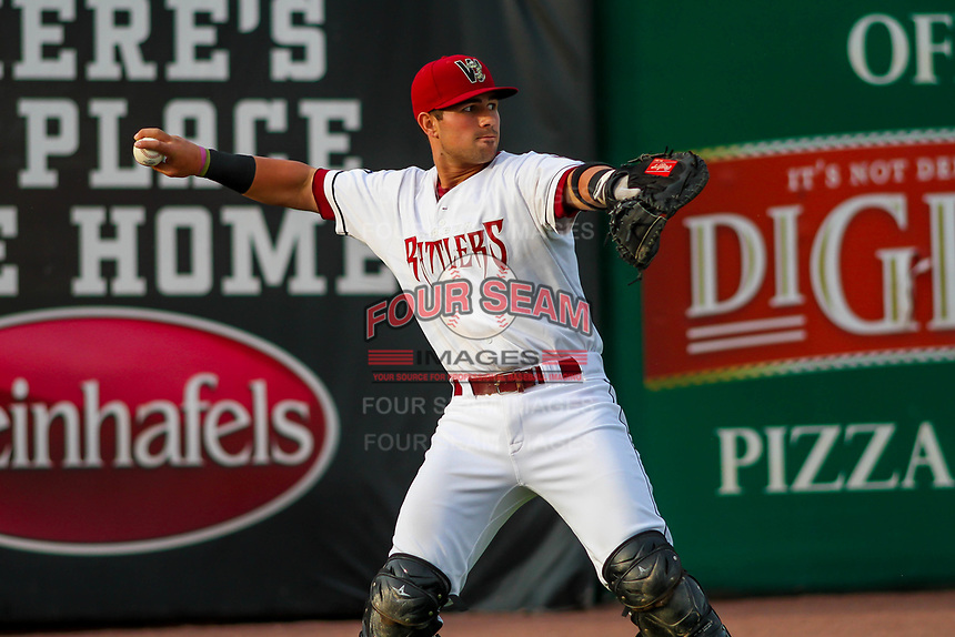 Wisconsin Timber Rattlers catcher Payton Henry (15) warms up in the outfield prior to a Midwest League game against the Burlington Bees on August 3, 2018 at Fox Cities Stadium in Appleton, Wisconsin. Wisconsin defeated Burlington 5-4. (Brad Krause/Four Seam Images)
