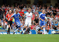 Pictured: Mark Gower of Swansea (R) is marked by Raul Meireles of Chelsea (L). Saturday 17 September 2011<br /> Re: Premiership football Chelsea FC v Swansea City FC at the Stamford Bridge Stadium, London.