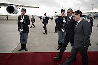 Pictured: Greek Prime Minister Alexis Tsipras (R) escorts US President Barack Obama to Air Force One at Eleftherios Venizelos Airport in Athens, Greece. Wednesday 16 November 2016<br /> Re: US President Barack Obama state visit to Greece