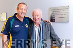 Brendan Kennelly pictured with his nephew Tim Kennelly in the Ard Cúram Day Care Centre Listowel where a plaque was unveiled on Thursday morning.