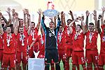 die Bayern mit der Meisterschale, Siegerehrung,<br />Kapitaen Torwart Manuel NEUER (M) mit der Schale, <br />Jubel, jubeln, Freude, cheers, <br /><br />Sport: Fussball: 1. Bundesliga: Saison 19/20: 34.Spieltag, <br />VFL WOLFSBURG - FC BAYERN MUENCHEN <br />am 27.06.2020 in der Volkswagen Arena Wolfsburg, <br /><br />Nur fuer journalistische Zwecke! <br />Only for editorial use!<br />Gemaess den Vorgaben der DFL Deutsche Fussball Liga ist es untersagt, in dem Stadion und/oder vom Spiel angefertigte Fotoaufnahmen in Form von Sequenzbildern und/oder videoaehnlichen Fotostrecken zu verwerten bzw. verwerten zu lassen. <br />DFL regulations prohibit any use of photographs as image sequences and/or quasi-video.<br />National and International News Agencies OUT<br />NO RESALE!
