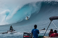 Namotu Island Resort, Nadi, Fiji (Sunday, May 27th 2018):  Dan Ross (AUS) -<br /> There had been strong SE winds all night along with heavy rain so the ocean was messy at first light. Cloudbreak was big and bumpy at dawn and the namotu boat was the first in the line up. The set waves were in the 15' plus range  and the ocean needed to settle down before any one hit the water.<br /> As the tide dropped it cleaned up and the first surfers paddled out. The first ridden waves were tow-in and in the 20' plus range. The swell was the biggest just after the low tide and stayed in the 15'-20' range for the rest of the day.<br /> Crew paddled and towed into the waves and there were also crew who kite surfed when the wind ws strong enought.<br /> There were strong wind all day and overcast conditions with long periods of rain. The huge swell forecast had big wave surfers flying in from around the world and it had already been call the 'Black Mamba' swell, one of the biggest to hit Fiji in the past six years.  <br /> Photo: joliphotos.com
