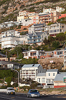 South Africa.  Houses overlooking Glencairn Beach, south of Cape Town.
