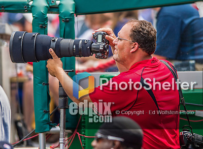 1 June 2014: Professional Sports Photographer Greg Fiume covers an MLB  game between the Washington Nationals and the Texas Rangers at Nationals Park in Washington, DC. The Rangers shut out the Nationals 2-0 to salvage the third the third game of their 3-game inter-league series. Mandatory Credit: Ed Wolfstein Photo *** RAW (NEF) Image File Available ***