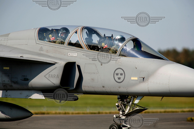 Swedish fighter jet JAS Gripen flying at Rygge airport. The Gripen was one of the aircraft being considered to replace Norway's ageing F-16 Fighters. Norway