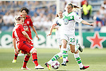 VfL Wolfsburg's Lara Dickenmann (r) and Olympique Lyonnais's Eugenie Le Sommer during UEFA Women's Champions League 2015/2016 Final match.May 26,2016. (ALTERPHOTOS/Acero)