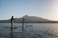 Nicaragua, Granada, paddle boarding at Jicaro Lodge.