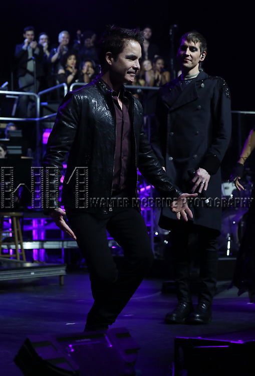 "Pat Monahan and Tony Vincent during the Broadway Opening Night Performance Curtain Call of  ""Rocktopia"" at The Broadway Theatre on March 27, 2018 in New York City."