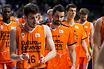 Valencia Basket's players Guillem Vives, Sato and Rafa Martinez at the end of the first match of the Semi Finals of Liga Endesa Playoff at Barclaycard Center in Madrid. June 02. 2016. (ALTERPHOTOS/Borja B.Hojas)