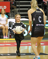 26.07.2015 Action during the Silver Fern v South Africa netball test match played at Claudelands Arena in Hamilton. Mandatory Photo Credit ©Michael Bradley.
