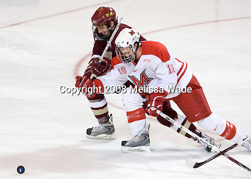 Tim Kunes (BC - 6), Jarod Palmer (Miami - 19) - The Boston College Eagles defeated the Miami University RedHawks 4-3 in overtime on Sunday, March 30, 2008 in the NCAA Northeast Regional Final at the DCU Center in Worcester, Massachusetts.
