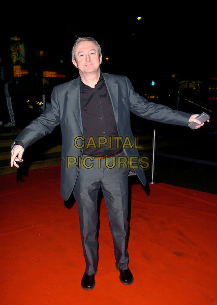 LOUIS WALSH.Arrivals - Emeralds & Ivy Ball, The Roundhouse, .London, England, December 1st 2006..full length grey suit black shirt arms out funny pose gesture.CAP/CAN.©Can Nguyen/Capital Pictures