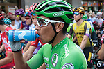 Green Jersey Nairo Quintana (COL) Movistar Team lined up for the start of Stage 9 of La Vuelta 2019 running 99.4km from Andorra la Vella to Cortals d'Encamp, Spain. 1st September 2019.<br /> Picture: Colin Flockton | Cyclefile<br /> <br /> All photos usage must carry mandatory copyright credit (© Cyclefile | Colin Flockton)
