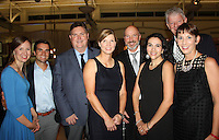 NWA Democrat-Gazette/CARIN SCHOPPMEYER Heather and Alden Napier (from left), Big Night co-chairman Shawn and Barb Baldwin, Ronnie and Candy Robinson and Matt and Sara Herlevic enjoy the Jones Center benefit Oct. 29 at the center in Springdale.