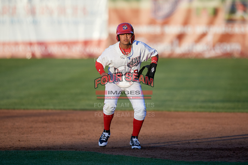 Auburn Doubledays second baseman Jose Sanchez (9) leads off first base during a game against the Batavia Muckdogs on June 15, 2018 at Falcon Park in Auburn, New York.  Auburn defeated Batavia 5-1.  (Mike Janes/Four Seam Images)