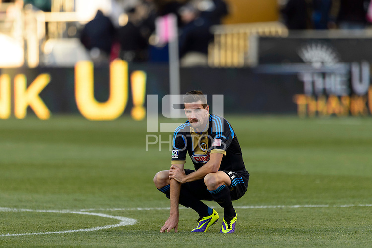Sebastien Le Toux (11) of the Philadelphia Union reacts after the loss to Sporting Kansas City. Sporting Kansas City defeated the Philadelphia Union 2-1 during a Major League Soccer (MLS) match at PPL Park in Chester, PA, on October 26, 2013.
