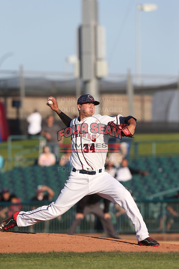 Vince Velasquez #34 of the Lancaster JetHawks pitches against the High Desert Mavericks at The Hanger on April 19, 2014 in Lancaster, California. Lancaster defeated High Desert, 7-1. (Larry Goren/Four Seam Images)