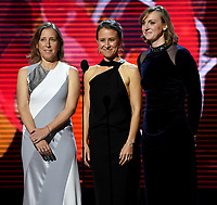 MOUNTAIN VIEW, CA - DECEMBER 3: Anne Wojcicki, Susan Wojcicki, and Katie Ledecky appear on the 6th Annual Breakthrough Prize at NASA Ames Research Center on December 3, 2017 in Mountain View, California. (Photo by Frank Micelotta/NatGeo/PictureGroup)