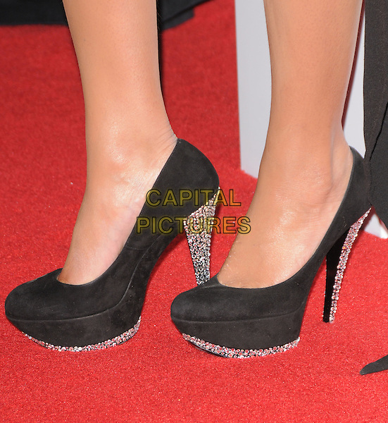 "BEYONCE KNOWLES' SHOES.The Saks Fifth Avenue's ""Unforgettable Evening"" benefiting EIF's Women's Cancer Research Fund held at The Beverly Wilshire Hotel in Beverly Hills, California, USA..February 10th, 2009                                                                     feet heels platform jewel encrusted velvet .CAP/DVS.©Debbie VanStory/Capital Pictures."