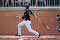 Johnny Aiello (2) of the Wake Forest Demon Deacons follows through on his swing against the Charlotte 49ers at Hayes Stadium on March 16, 2016 in Charlotte, North Carolina.  The 49ers defeated the Demon Deacons 7-6.  (Brian Westerholt/Four Seam Images)