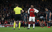 Arsenal's Alexandre Lacazette waits to take a first half penalty<br /> <br /> Photographer Rob Newell/CameraSport<br /> <br /> UEFA Europa League Quarter-Final First Leg - Arsenal v CSKA Moscow - Thursday 5th April 2018 - The Emirates - London<br />  <br /> World Copyright &copy; 2018 CameraSport. All rights reserved. 43 Linden Ave. Countesthorpe. Leicester. England. LE8 5PG - Tel: +44 (0) 116 277 4147 - admin@camerasport.com - www.camerasport.com