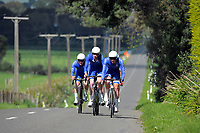 St Kentigern A u20 boys in action during the NZ Schools Road Cycling championship day one team time trials at Koputaroa Road near Levin, New Zealand on Saturday, 30 September 2017. Photo: Dave Lintott / lintottphoto.co.nz