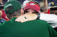 NWA Democrat-Gazette/CHARLIE KAIJO Arkansas Razorbacks head coach Chad Morris hugs Colorado State Rams head coach Mike Bobo at the end of a 34-27 loss, Saturday, September 8, 2018 at Colorado State University in Fort Collins, Colo.