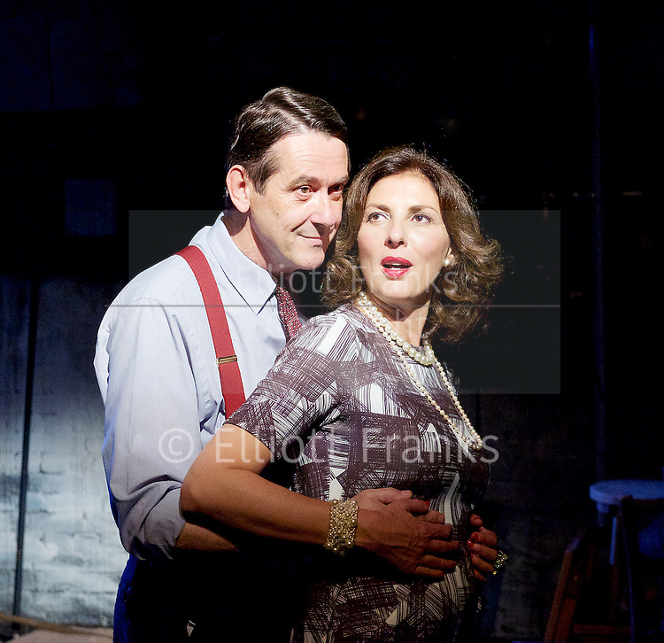 Orson&rsquo;s Shadow by Austin Pendleton<br /> at Southwark Playhouse, London, Great Britain <br /> press photocall <br /> 1st July 2015 <br /> <br /> Gina Bellman as Vivien Leigh<br /> Adrian Lukis as Laurence Olivier<br /> <br /> Photograph by Elliott Franks <br /> Image licensed to Elliott Franks Photography Services