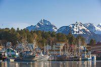 Commercial fishing boats in ANB Harbor, Baranof Island, Sitka, Alaska.