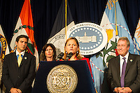 NY City City Council Speaker Melissa Mark-Viverto accompanied by members of the City Council, speaks at a press conference about pending City Council legislation, in the Red Room at City Hall in New York on Thursday, August 21, 2014.  Mark-Viverto recently revealed via Twitter that has HPV (Human papillomavirus). (© Frances M. Roberts)