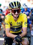 New race leader Adam Yates (GBR) Mitchelton-Scott Yellow Jersey at sign on before Stage 5 of the Criterium du Dauphine 2019, running 201km from Boen-sur-Lignon to Voiron, France. 13th June 2019.<br /> Picture: ASO/Alex Broadway | Cyclefile<br /> All photos usage must carry mandatory copyright credit (© Cyclefile | ASO/Alex Broadway)