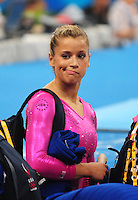 Aug. 7, 2008; Beijing, CHINA; Alicia Sacramone (USA) reacts during womens gymnastics training prior to the Olympics at the National Indoor Stadium. Mandatory Credit: Mark J. Rebilas-