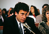 Actor and director Paul Michael Glaser, husband of Elizabeth Glaser,  testifies during a pediatric AIDS hearing before the United States House Budget Committee's Task Force on Human Resources on Capitol Hill in Washington, DC, March 13, 1990. Elizabeth Glaser contracted the AIDS virus after receiving an HIV-contaminated blood transfusion in 1981 while giving birth, subsequently infecting both of her children. One of his children, daughter Ariel, died in 1988 of the disease.  Mrs. Glaser passed away from the disease on December 3, 1994.   <br /> Credit: Howard Sachs / CNP