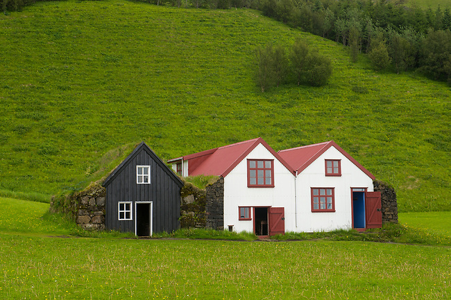 The Skal farm built in 1919-1920 and was occupied until 1970 at the Skogar folk museum in southern Iceland.