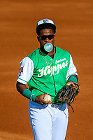 Jackson Generals second baseman Domingo Leyba (3) prior to a Southern League game against the Biloxi Shuckers on July 27, 2018 at The Ballpark at Jackson in Jackson, Tennessee. Biloxi defeated Jackson 15-7. (Brad Krause/Four Seam Images)