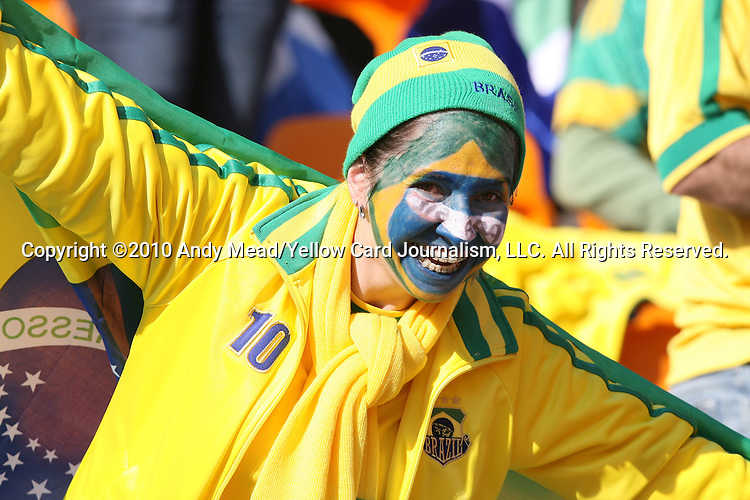 11 JUN 2010: Brazil fan in the stands of the Soccer City Stadium, pregame. The South Africa National Team played the Mexico National Team at Soccer City Stadium in Johannesburg, South Africa in the opening match of the 2010 FIFA World Cup.