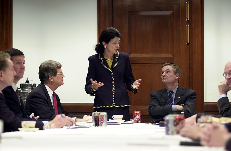 5coalition012401 -- Trent Lott, R-Miss., Olympia J. Snowe, R-Maine, and John B. Breaux, D-La., during the centrist coalition meeting in the Senate Dirksen Office Building.