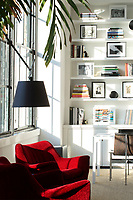 Modern red armchairs