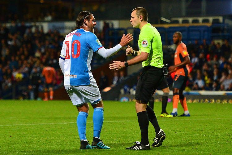 Blackburn Rovers' Danny Graham protests to Referee Tom Nield<br /> <br /> Photographer Richard Martin-Roberts/CameraSport<br /> <br /> The Carabao Cup First Round - Tuesday 13th August 2019 - Blackburn Rovers v Oldham Athletic - Ewood Park - Blackburn<br />  <br /> World Copyright © 2019 CameraSport. All rights reserved. 43 Linden Ave. Countesthorpe. Leicester. England. LE8 5PG - Tel: +44 (0) 116 277 4147 - admin@camerasport.com - www.camerasport.com